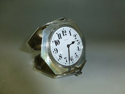 Antique Swiss Engraved Sterling Silver 8 Day 15 Jewel Mechanical Wind Up Clock 3