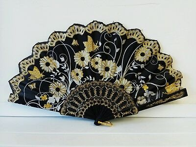 Vintage Folding Spanish Flower Floral Fabric Dancing Wedding Party Hand Fan 2