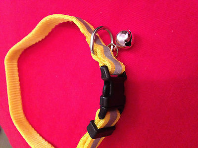 Reflective Cat Dog Puppy Collar with bell COLOUR SELECTION red yellow black etc 2