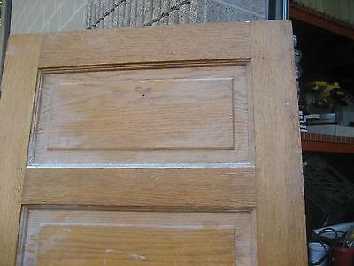 """circa 1900 SOLID oak PANELED door CHICAGO brownstone 83.5"""" x 32"""" x 1.75"""" 9"""