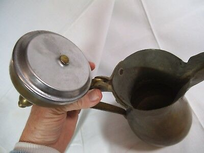 Antique Persian/ Middle-East Brass-Copper Dallah Coffee Pot-Hand Hammered-Signed 8
