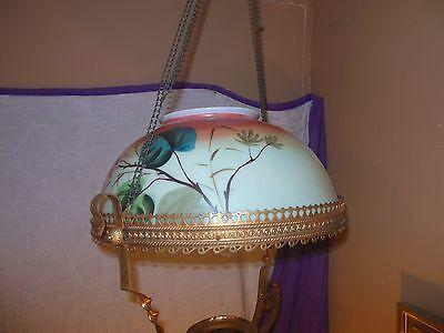 Antique Hand Painted Milk Glass & Ornate Brass Hanging Kerosene Lamp Chandelier 2