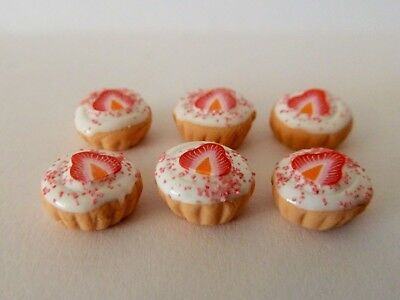 Dolls House Miniature Food 1:12 6 X Strawberry Frosted Cupcakes Combined P+P 2