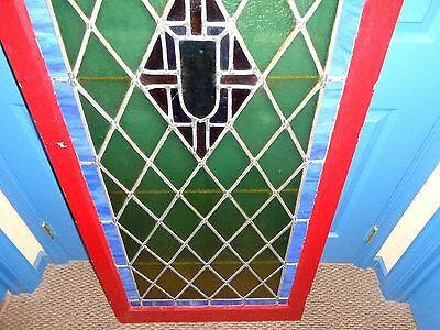 "STUNNING Vintage Arched Stained Glass Window, 5'  9-1/2"" Tall 4"