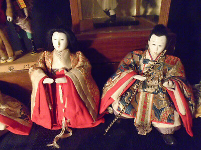 4 + 3 + 1 Antique Japanese Hina Imperial Court Empres Dolls With Gofun Faces 4