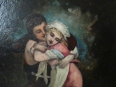Couple Amoureux Huile Sur Panneau D Acajou Tableau Peinture 19eme Siecle Eur 100 00 Picclick Fr