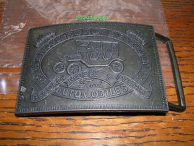Ford Auto Model T Numbered Belt Buckle Brass Nice! 3