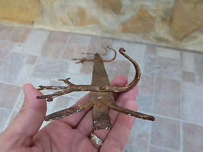 ANTIQUE 19th CENTURY Hand forged Wrough Iron Hook Hanger Old Fireplace Vintage 7