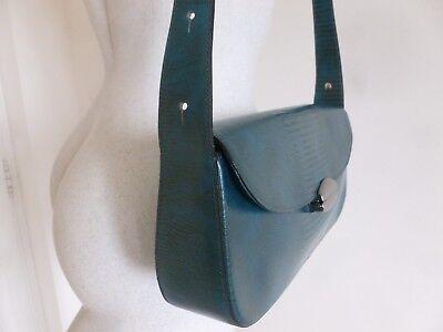 1a33de71edc ... Superbe Sac Neuf Marque Elegance Cuir Rigide Facon Lezard Bleu Petrole 3