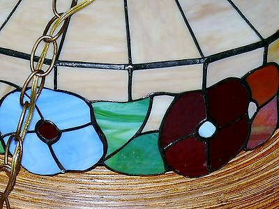Vintage Slag Stained Glass Shade Flowers Hanging Ceiling Light Fixture Lamp 5