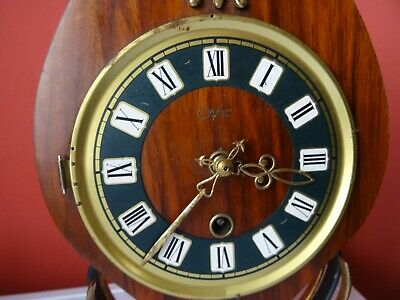 OLD WINTAGE  RETRO CLOCK Mid Century Orfac Pendulum Metal Table Mantle Clock 4