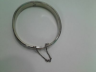Vintage Hong Kong Silvertone Etched Hinged Bracelet with Safety Chain