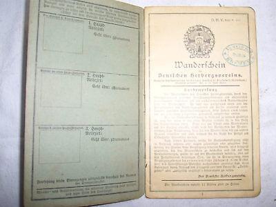 Wanderschein Deutscher Herbergsverein , ausgest. 1903