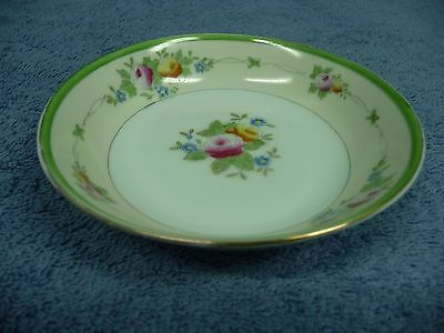 Vintage Hand Painted Japan Small Round Bowl With Flowers Gold & Green Rim 3
