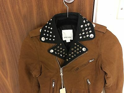 Diesel L-Ulisse Brown Studded Leather Jacket For Boys & Girls 8Yrs Rrp £399 5