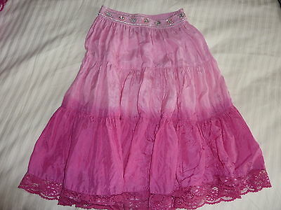 Monsoon 100% Silk Pink Ombre Crinkle Skirt Age 4 - 6 Sequins Beads Sparkly New 4