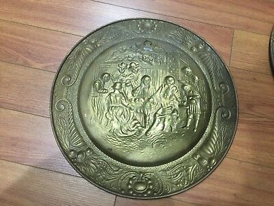 "Lot of 4 Vintage Peerage Embossed Brass Wall Plate ,14"" ,Made in England 10"