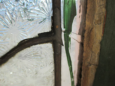 ~ Antique American Stained Glass Window Torch 16 X 51 Architectural Salvage ~ 7