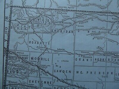 Vintage Map: Nebraska, United States, by Emery Walker, 1926, B/W 3