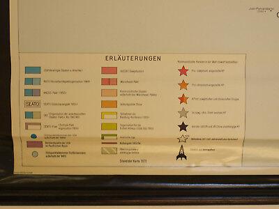 Schulwandkarte schöne alte Weltkarte Bündnisse 198x125 vintage world map 1969 11