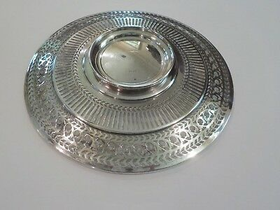 "Watson Sterling Silver Reticulated 8"" Sandwich/Dessert Plate / Tray, #4558 4"