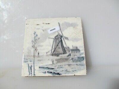 Antique Ceramic Tile Vintage French Village Boats River Cottage Farm Windmill 3