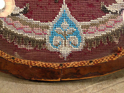 Antique Wooden Center Piece with Veneer Inlay Glass and Embroidery Bead Design 6 • CAD $242.45