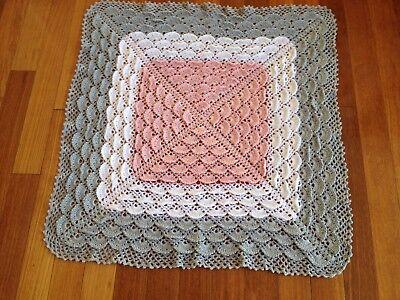Handmade knitted white, baby pick and grey chrochet blanket/throw