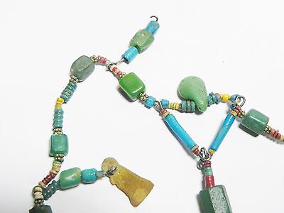 Zurqieh - Q61- Ancient Egypt. Strand Of Faience, Glass And Gold Amulets. 300 B.c 6