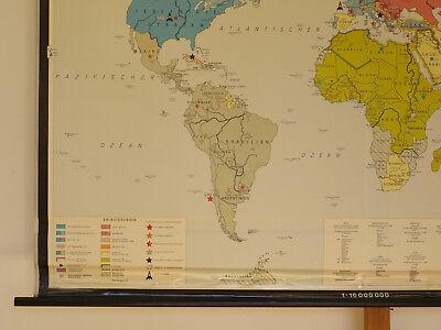 Schulwandkarte schöne alte Weltkarte Bündnisse 198x125 vintage world map 1969 9