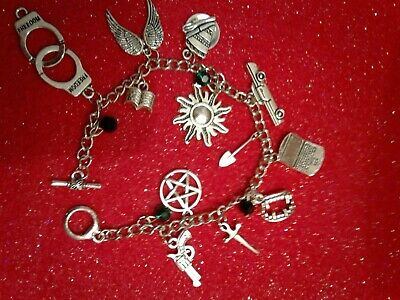SUPERNATURAL BRACELET WITH SAM DEAN CASTIEL BOBBY AND CROWLEY ITEMS  Silver 2