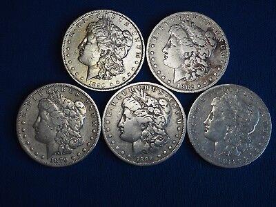 1878-1904 Morgan Silver Dollars F-VF (Fine-Very Fine) Pre-1921 Lot of 5 Coins 2