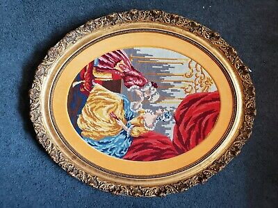 Antique Victorian Oval Wood Gold Gilt very ornate Frame EMBROIDERED Man n woman 11
