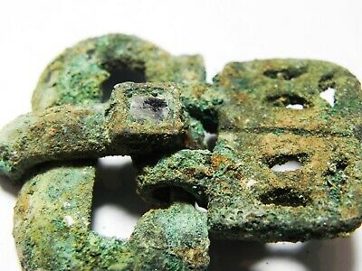 Zurqieh -As12421- Ancient Byzantine Bronze Belt Buckle With Glass Inlay. 700 A.d 2