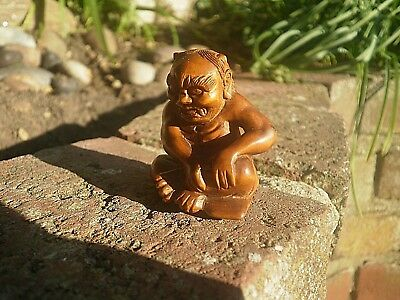 Hand Carved wood netsuke oni monster troll sits on spell book collectable figure 8