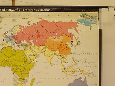 Schulwandkarte schöne alte Weltkarte Bündnisse 198x125 vintage world map 1969 8