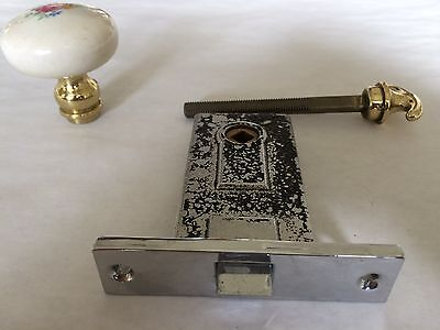 Vintage Chrome Mortise Door set w Porcelain Knob & Brass Handle from late 1930's 2