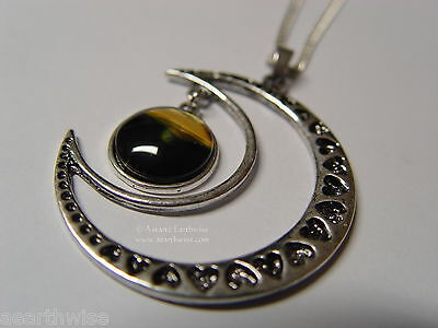 CRESCENT MOON WITH GLASS GALAXY CABOCHON PENDANT O Wicca Witch Pagan Goth