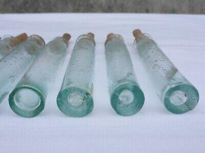 2 x alte kleine Medizin Glas Apotheke Apotheker Flasche grün lang ca. 10,0 cm 4