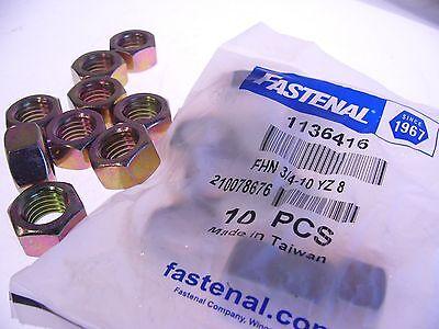 "Lot Of 19 Fastenal 3/4"" Yell Zinc Finish Grade 8 Finished Hex Nuts 1136416 (F15) 2"