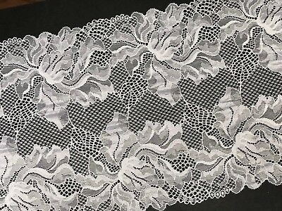 """laverslace French Navy Blue Wide Stretch Eyelet Tulle Lace Trim 9/""""//22cm"""