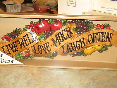 LIVE WELL LOVE Much Laugh Often Wall Plaque Decor Kitchen ...