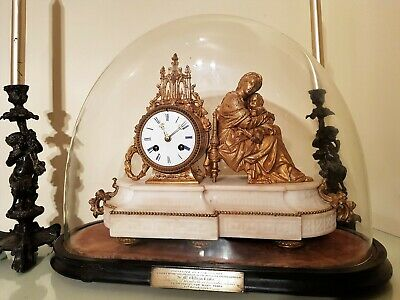 French Ormolu & White Marbel Figural Mantel Clock, Stand & Glass Dome 4