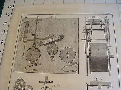 "Original engraving 1760's 10 1/2 x 16"" Pendule a Ressort 2"