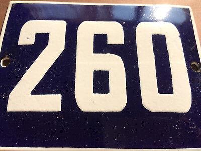 ANTIQUE VINTAGE ENAMEL SIGN HOUSE NUMBER 260 BLUE DOOR GATE STREET SIGN 1950's