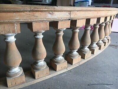 "c1890 curved porch balustrade 10' x 25"" x 8.5"" HUGE BEEFY spindle 19.5"" x 5.5"" 4"