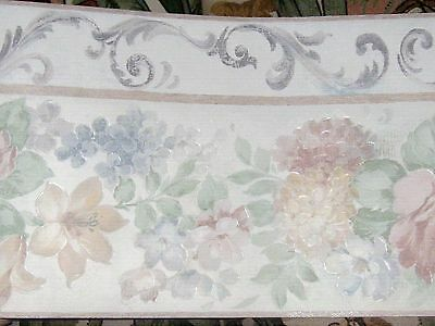 ... Pretty Pastel Flowers Wallpaper Border 2