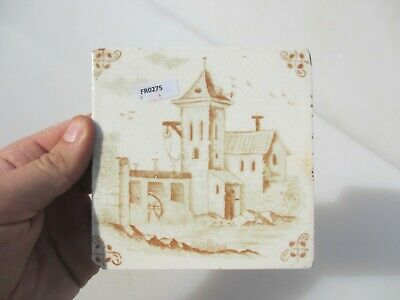 Antique Ceramic Tile Vintage French Village Boats River Windmill Nature Fishing 2