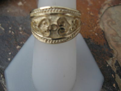 14 KT Yellow Gold Polished Byzantine Finish Etruscan Design Cigar Band Ring NEW 4