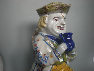 LARGE SIGNED 18th CENTURY CONTINENTAL FRENCH FAIENCE MONOCHROME TOBY JUG 7